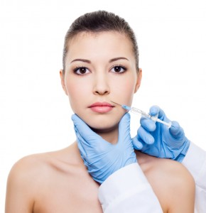 botox  injection in woman lips